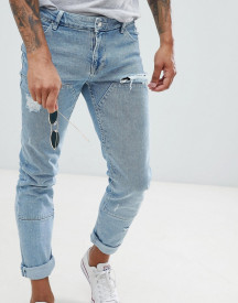 Asos Design Skinny Jeans In Light Wash Blue Cut And Sew Panelling afbeelding