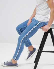 Asos Design Skinny Jeans In Mid Wash Blue With Frayed Side Stripe afbeelding