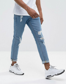 Asos Design Skinny Jeans In Mid Wash With Heavy Rips afbeelding