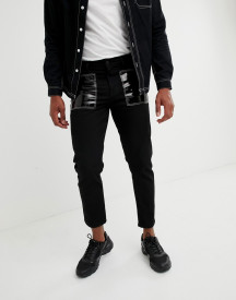 Asos Design Slim Jeans In Black With Vinyl Pockets afbeelding