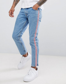 Asos Design Slim Jeans In Mid Wash Blue With Pink Side Stripe afbeelding