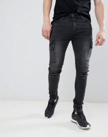 Asos Design Super Skinny Biker Jeans With Cargo Pockets In Washed Black afbeelding