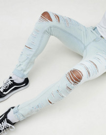 Asos Design Super Skinny Jeans Bleach Wash Blue With Heavy Rips afbeelding