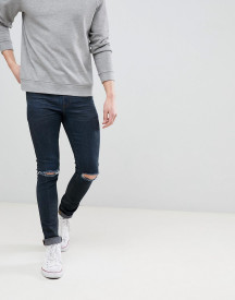 Asos Design Super Skinny Jeans In Overdyed Black With Knee Rips afbeelding