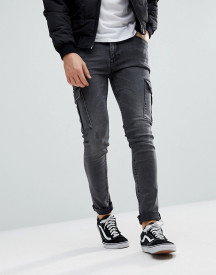 Asos Design Super Skinny Jeans In Washed Black With Cargo Pockets afbeelding