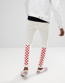 Asos Design Super Skinny Jeans In White With Red Checkerboard Print afbeelding