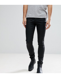 Asos Design Tall Super Skinny Jeans In Coated Black afbeelding