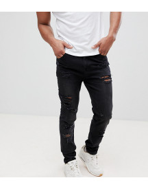 Asos Design Tall Tapered Jeans In 12.5oz In Washed Black With Heavy Rips afbeelding