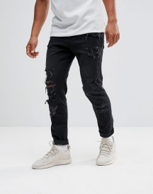 Asos Design Tapered Jeans In 12.5oz In Washed Black With Heavy Rips afbeelding