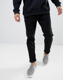 Asos Design Tapered Jeans In Black afbeelding