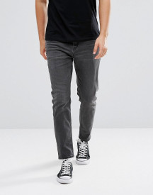 Asos Design Tapered Jeans In Washed Black afbeelding