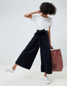 Asos Design Wide Leg In Navy Cord Jeans With Waist Tie afbeelding