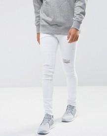 Asos Extreme Super Skinny Jeans In White With Distressing afbeelding