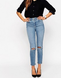 Asos Farleigh High Waist Slim Mom Jeans In Prince Wash With Busted Knees afbeelding