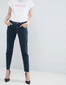 Asos Kimmi Shrunken Boyfriend Jeans In Zeba Darkwash With Raw Hem afbeelding