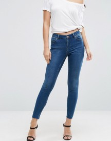 Asos Lisbon Midrise Skinny Jeans In Abbie Wash With Raw Hem afbeelding