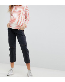 Asos Design Maternity Barrel Leg Boyfriend Jeans In Washed Black With Knee Rips With Over The Bump Waistband afbeelding