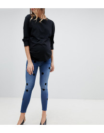 Asos Design Maternity Ridley High Waist Skinny Jeans In Dark Stone Wash With Large Flock Spots afbeelding