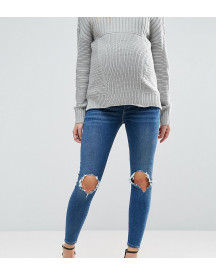 Asos Design Maternity Ridley Skinny Jeans In Roy Dark Stonewash With Busted Knees With Under The Bump Waistband afbeelding