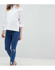 Asos Design Maternity Shrunken Boyfriend Jeans In Bonnie Wash With Busted Knees With Over The Bump Waistband afbeelding