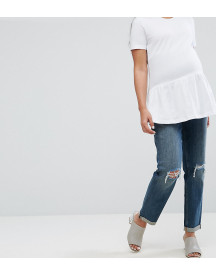 Asos Maternity Kimmi Shrunken Boyfriend Jeans In Misty Wash With Busts And Rips With Over The Bump Waistband afbeelding