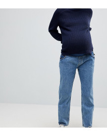 Asos Maternity Recycled Florence Authentic Straight Leg Jeans In Mindy Vintage Blue Wash With Under The Bump Waistband afbeelding
