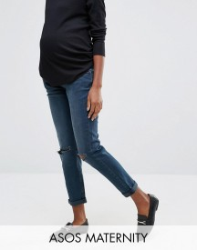 Asos Maternity Kimmi Boyfriend Jeans In Grace Wash With Over The Bump Waistband afbeelding