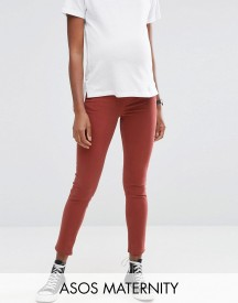 Asos Maternity Ridley Skinny Jean In Choco Latte With Under The Bump Waistband afbeelding