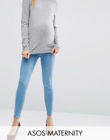 Asos Maternity Ridley Skinny Jeans In Anais Wash With Under The Bump Waistband afbeelding