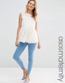 Asos Maternity Ridley Skinny Jeans In Primrose Wash With Under The Bump Waistband afbeelding