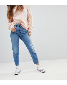 Asos Design Petite Farleigh High Waist Slim Mom Jeans In Bastina Pretty Bright Mid Wash afbeelding