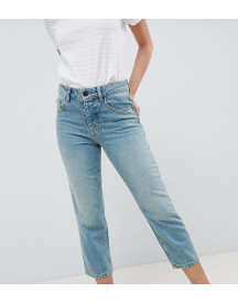 Asos Design Petite Florence Authentic Straight Leg Jeans In Light Green Cast afbeelding