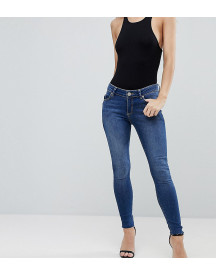 Asos Design Petite Lisbon Midrise Skinny Jeans In Kyla Wash With Raw Hem afbeelding