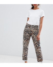 Asos Design Petite Ritson Rigid Mom Jeans In Abstract Leopard Print afbeelding