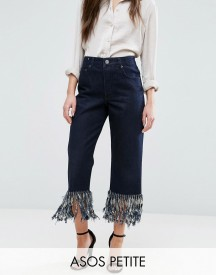 Asos Petite Authentic Straight Leg Jeans In James Wash With Fringe Hem afbeelding