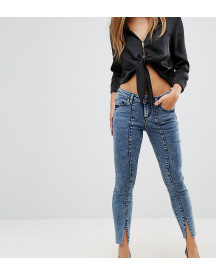 Asos Petite Lisbon Mid Rise Skinny Jeans In Dixie Light Acid Wash With Vent Hem afbeelding