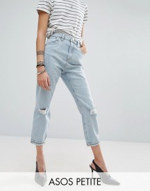 Asos Petite Mom Jeans In Beech Wash With Busted Knees And Chewed Hem afbeelding
