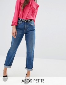 Asos Petite Original Mom Jeans In Baillie Rich Blue Wash afbeelding
