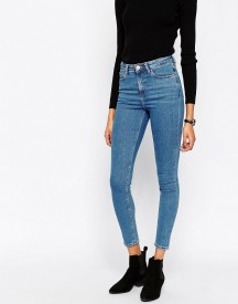 Asos Ridley High Waist Skinny Jeans In Lily Pretty Blue afbeelding