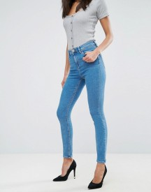 Asos Ridley High Waist Skinny Jeans In Lily Wash afbeelding