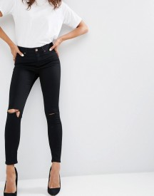Asos Ridley Skinny Jeans In Clean Black With Rips afbeelding