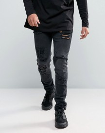 Asos Skinny Jeans In 12.5oz With Mega Rips In Washed Black afbeelding
