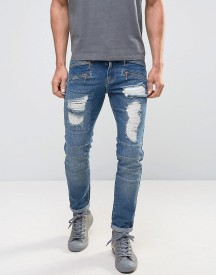 Asos Skinny Jeans In Biker Style With Rips Mid Blue afbeelding