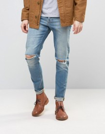 Asos Skinny Jeans With Knee Rips In 12.5oz Light Blue afbeelding