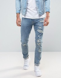 Asos Skinny Jeans With Mega Rips In Light Blue afbeelding