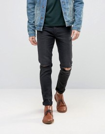 Asos Skinny Jeans With Rips In 12.5oz Washed Black afbeelding