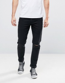 Asos Skinny Jeans With Single Busted Knee Rip In Black afbeelding