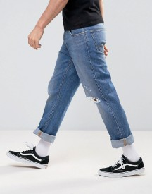 Asos Straight Jeans With Knee Rips In Mid Blue afbeelding