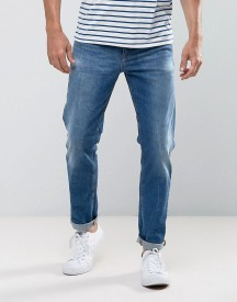Asos Stretch Slim Jeans In 12.5oz Mid Wash Blue afbeelding