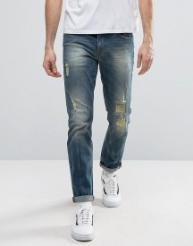 Asos Stretch Slim Jeans With Rips In Mid Wash afbeelding